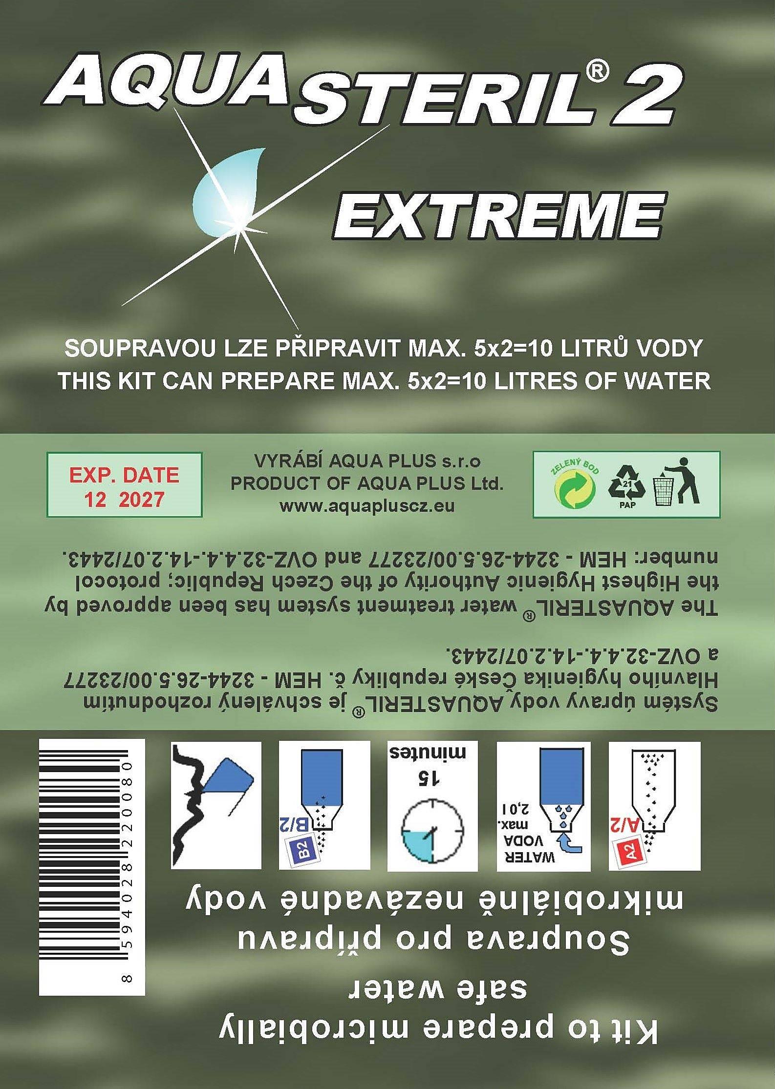 aquasteril extreme dezinfekce vody na cestách